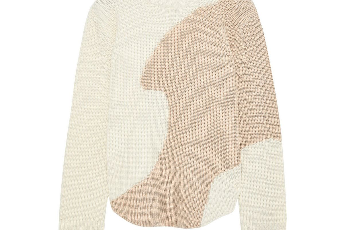 derek lam two tone ribbed cashmere sweater
