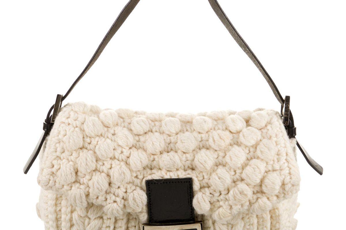 fendi cable knit wool baguette