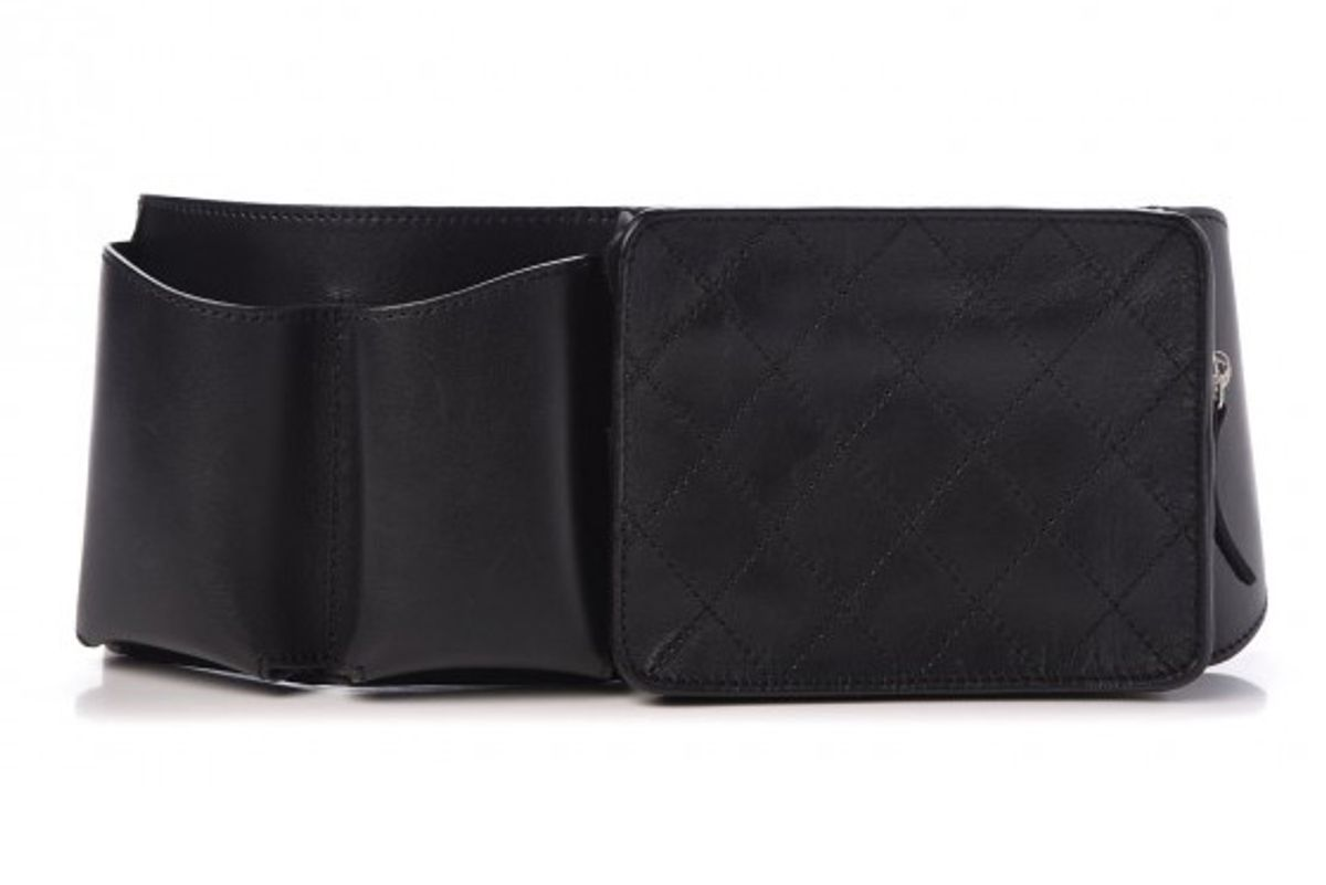 chanel calfskin stitched belt bag