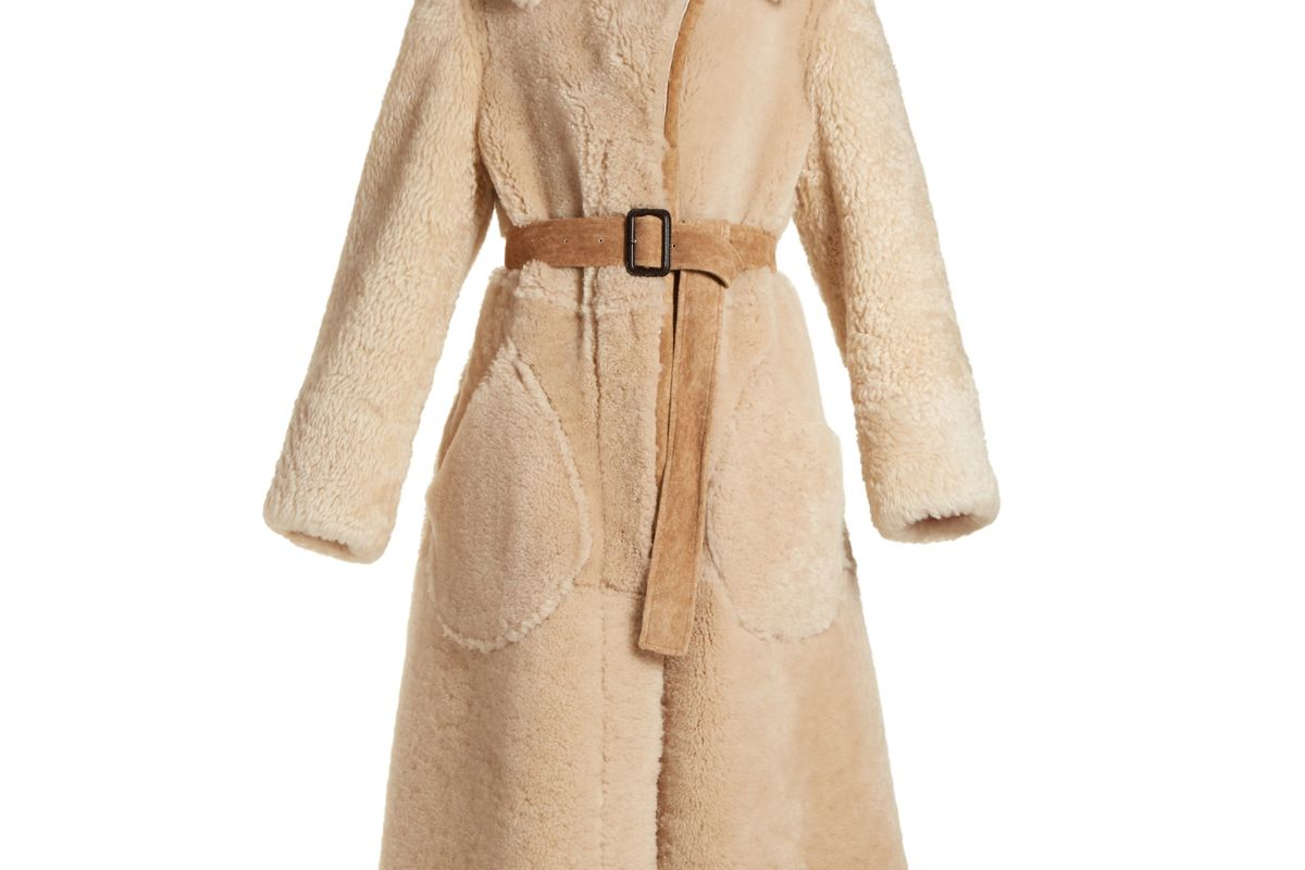 burberry belted shearling coat
