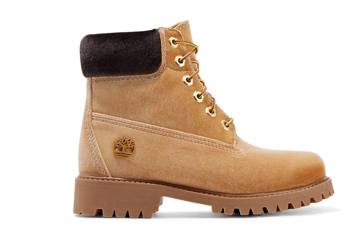 off white timberland velvet boots