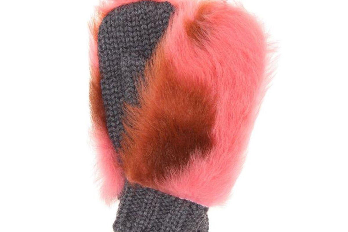 prada fur trimmed wool mittens