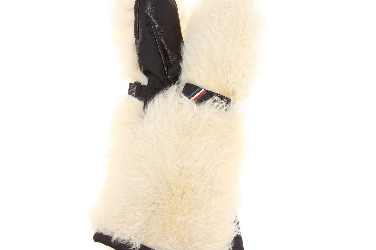 moncler grenoble fur leather ski mittens