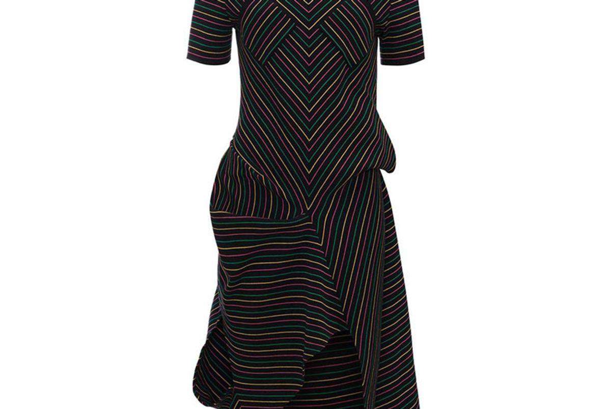 Draped Cotton Crepe Knit Dress