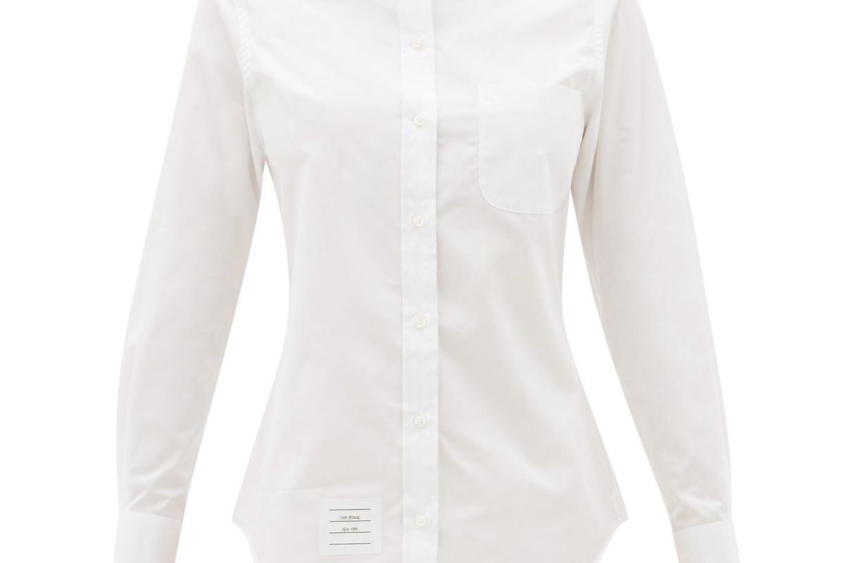 thom browne logo patch cotton poplin button down shirt
