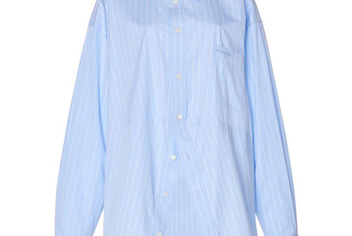 balenciaga swing pinstriped poplin shirt