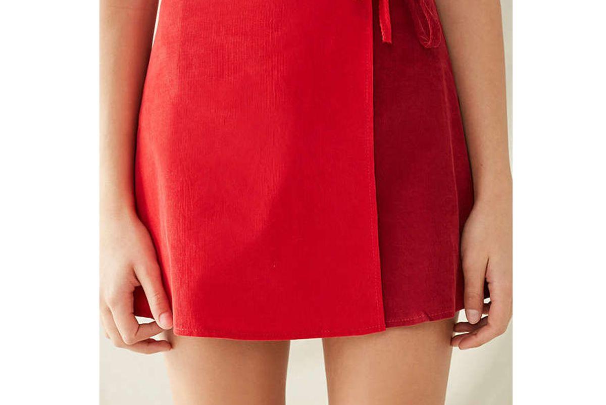 Remade Corduroy Mini Wrap Skirt