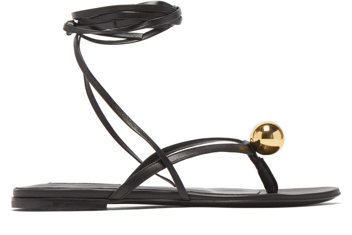jil sander metalic orb flat wraparound leather sandals