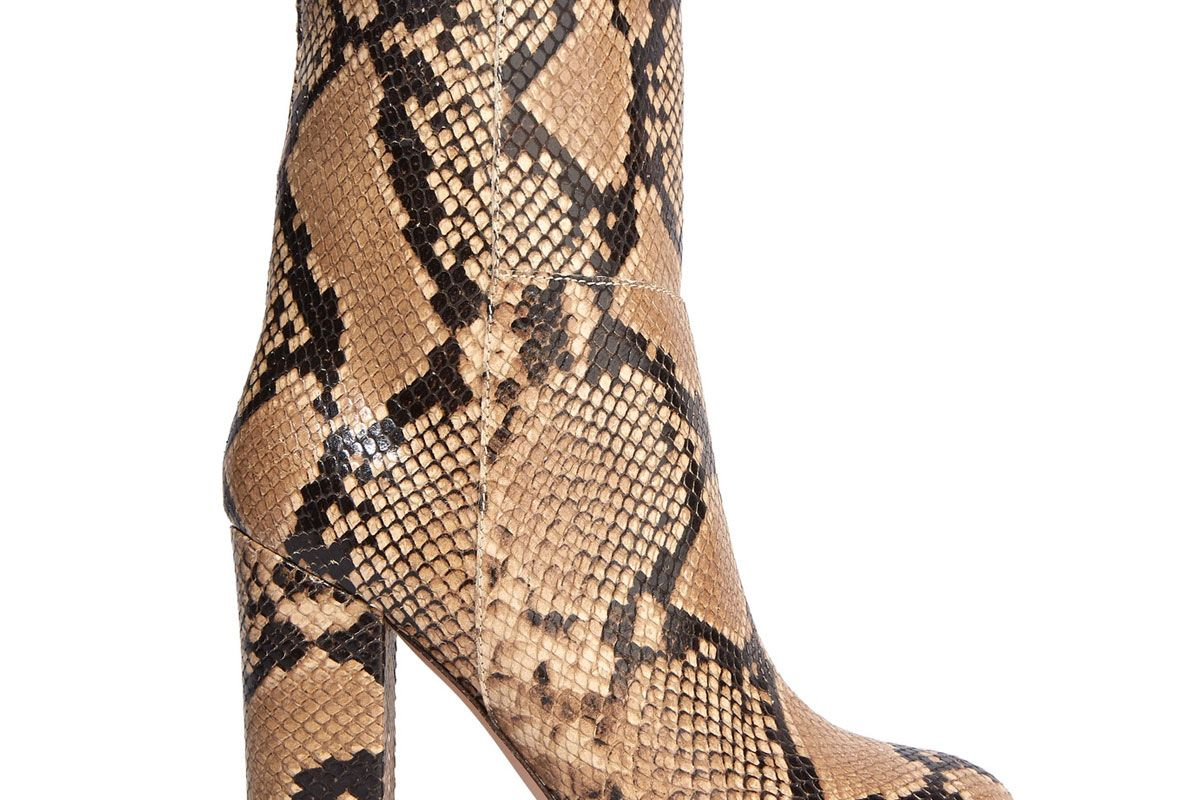 Snake-Effect Leather Boots