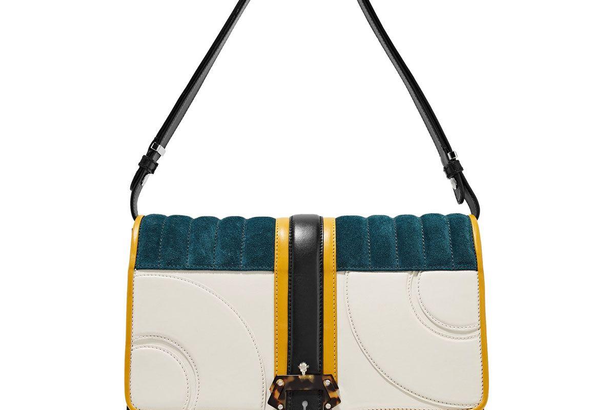 Caroline Color-Block Leather and Suede Shoulder Bag