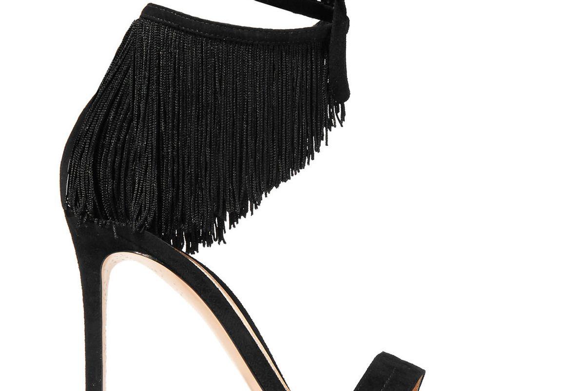 Fringed Suede Sandals