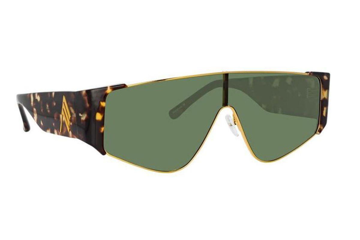 linda farrow the attico carlijn shield sunglasses in tortoiseshell