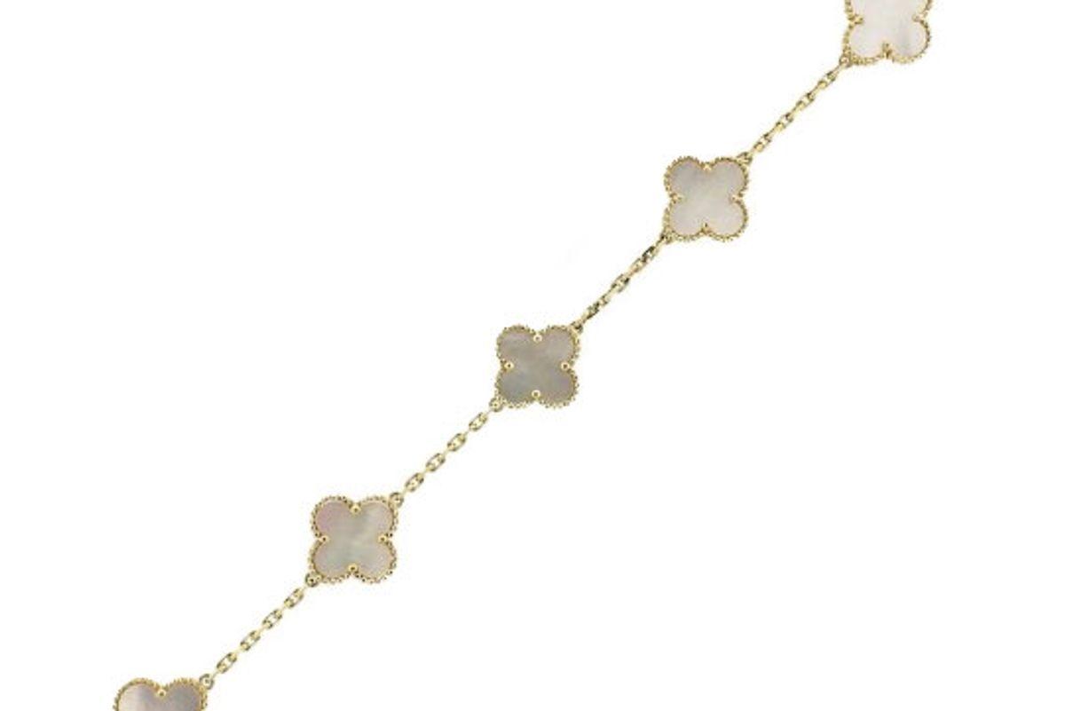 Vintage Alhambra Gold Mother of Pearl 5 Motif Bracelet