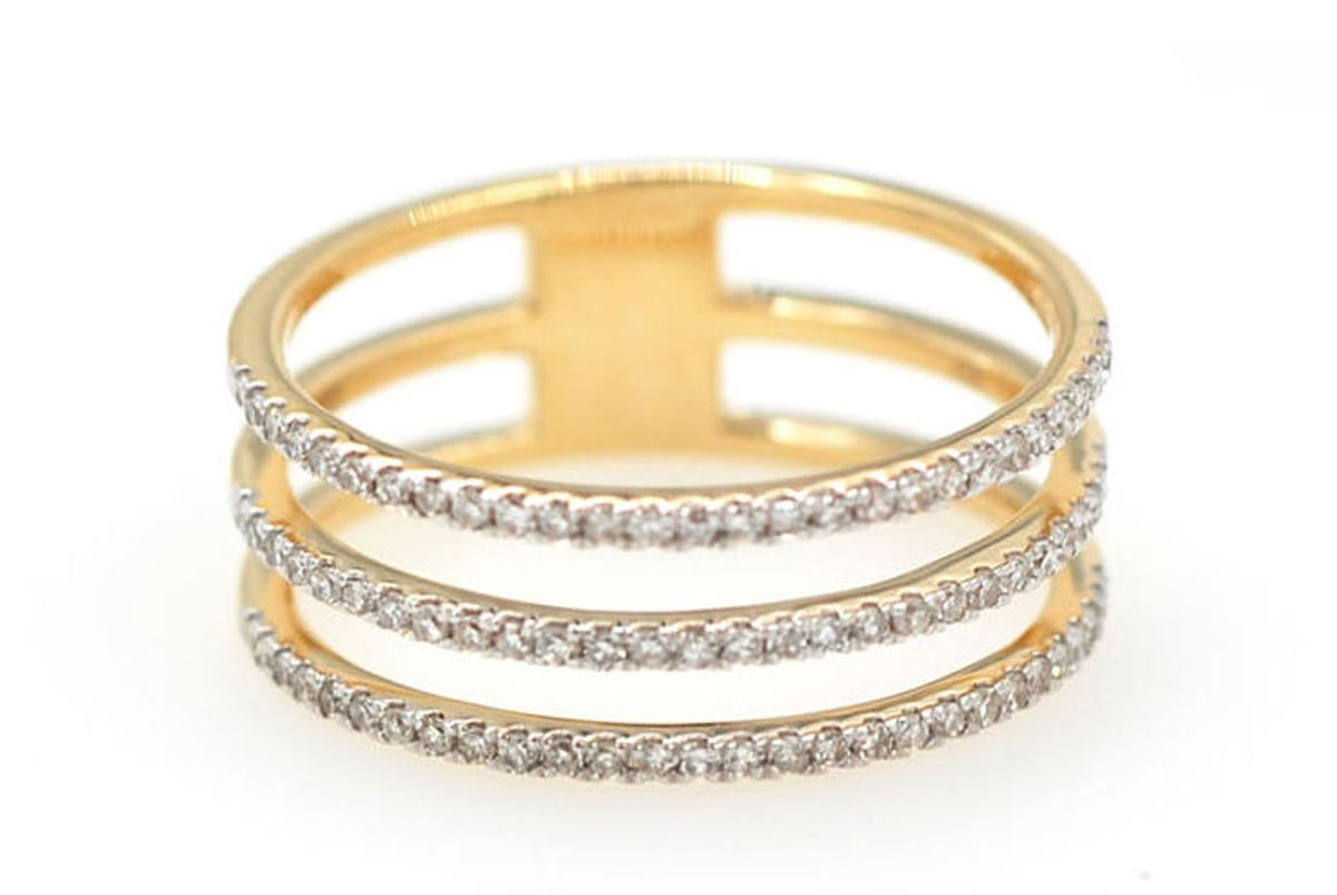 Pavé Diamond Triple Band Ring