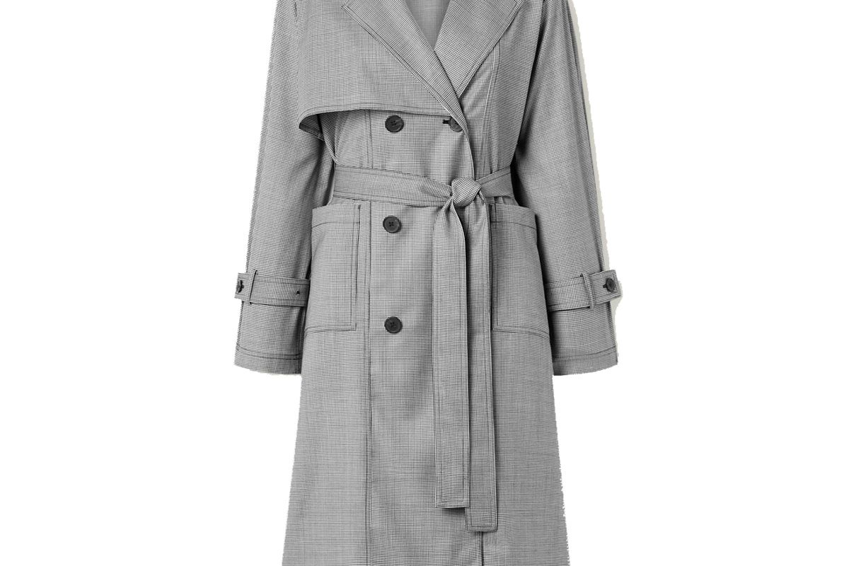 the r collective x net sustain x wen pan dalston belted houndstooth wool trench coat