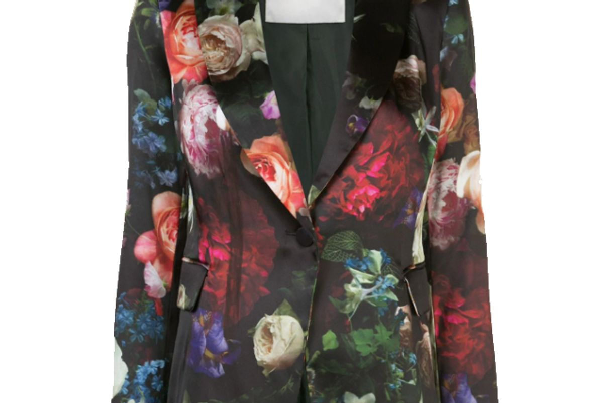 adam lippes floral print satin finish blazer