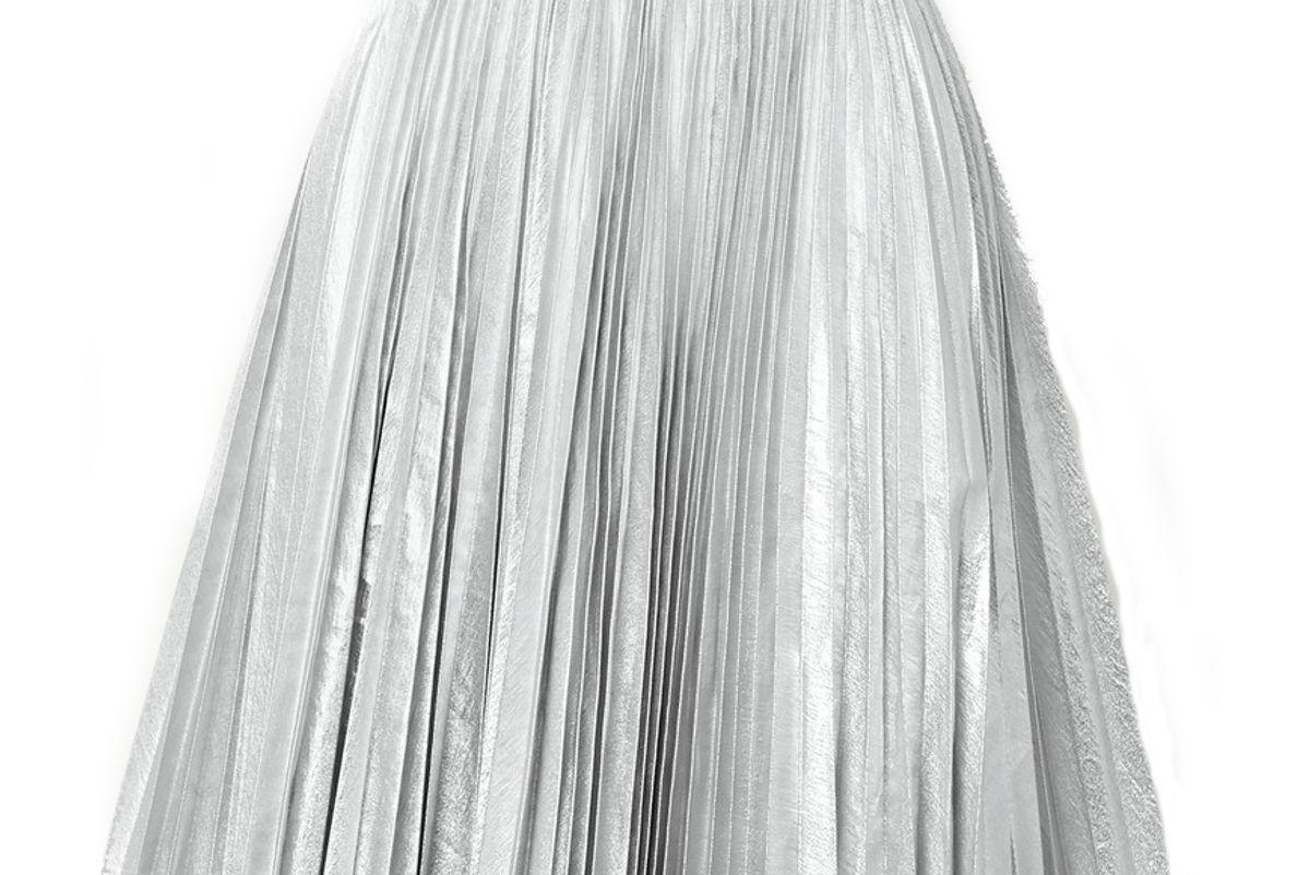 pushbutton pleated metallic coated twill skirt