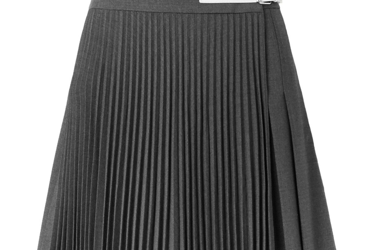 helmut lang buckled leather trimmed pleated wool blend wrap mini skirt
