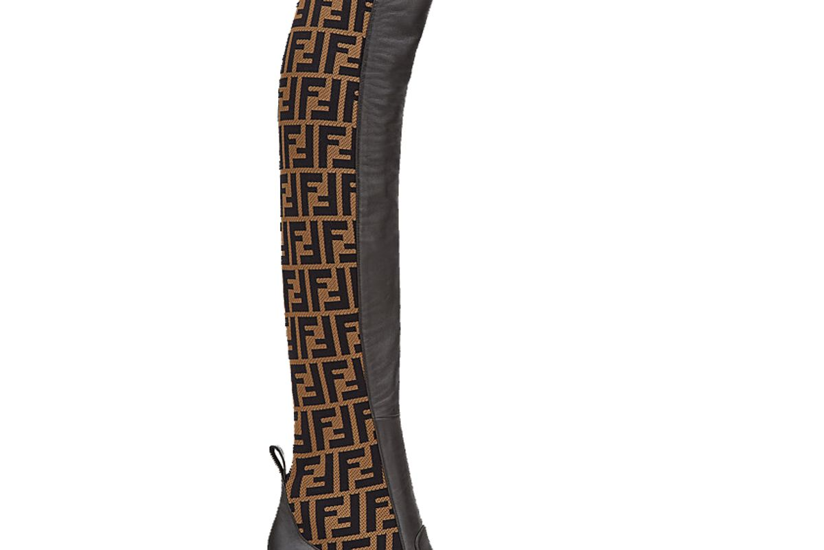 fendi brown leather thigh high boots