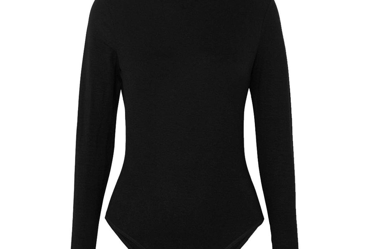 ninety percent stretch tencel turtleneck bodysuit