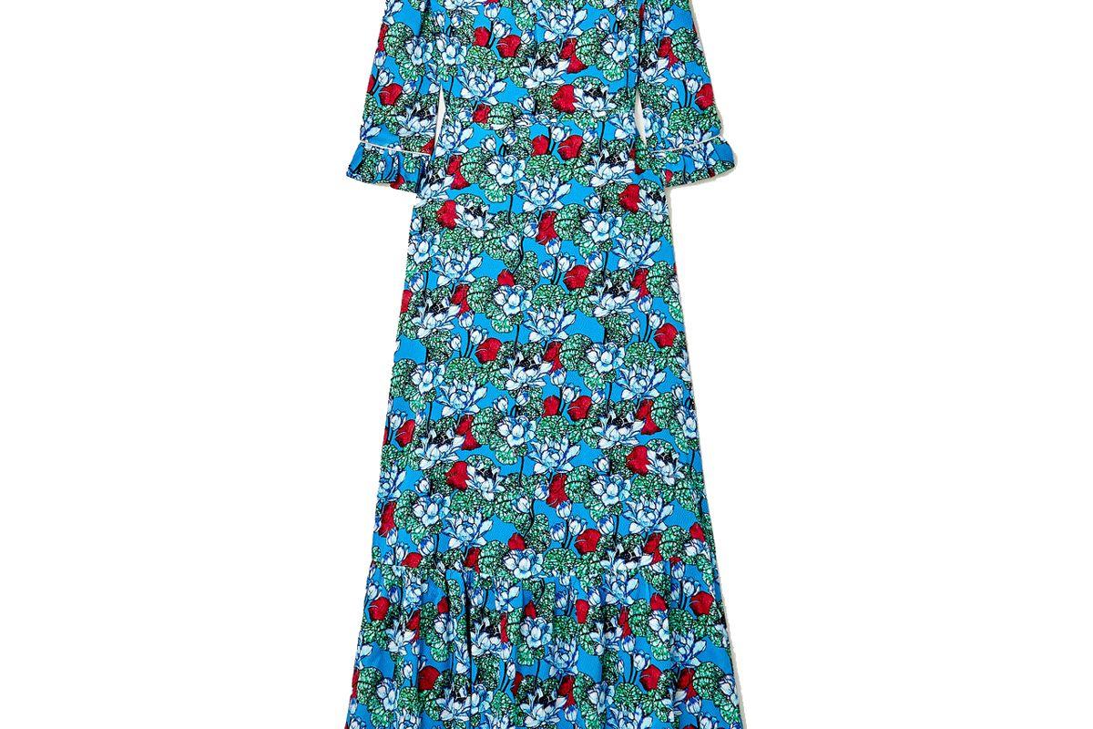 mary katrantzou millais floral print hammered stretch silk satin maxi dress