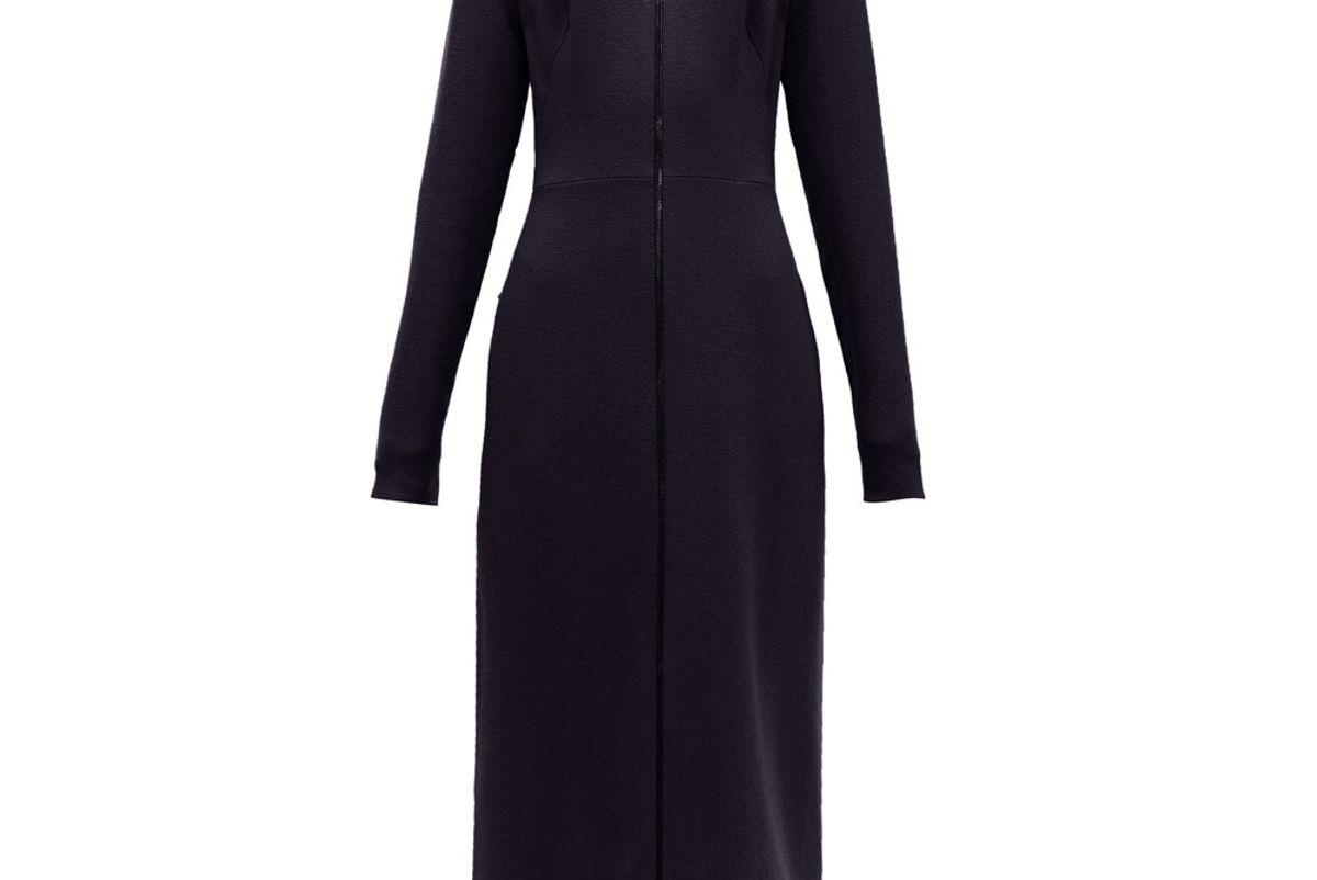 raey zip front wool crepe midi dress