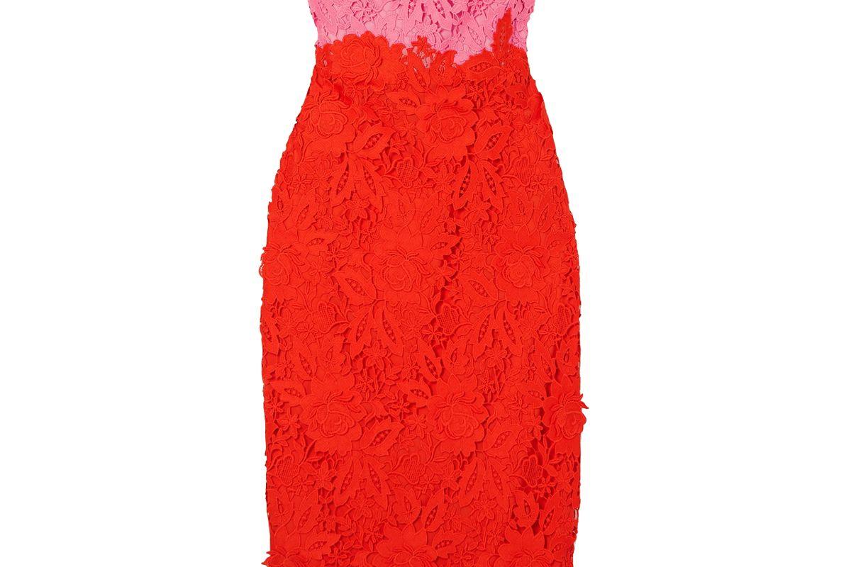 lela rose strapless two tone guipure lace midi dress