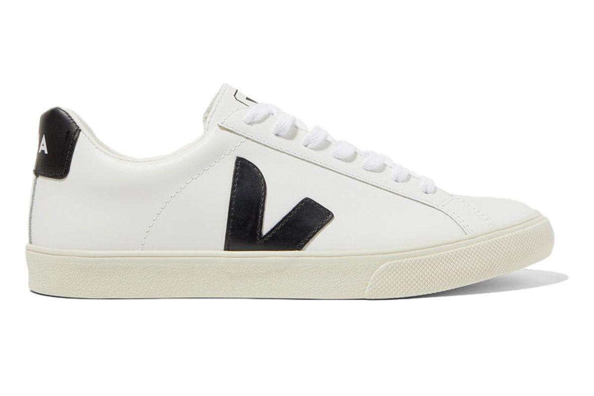 veja net sustain esplar rubber trimmed leather sneakers