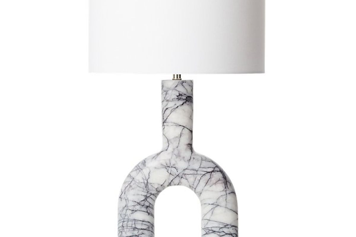 cb2 tubular marble table lamp