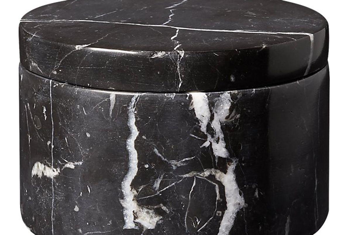 cb2 black marble salt duo dish