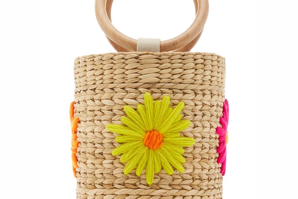 poolside bobbi floral embroidered straw bucket bag