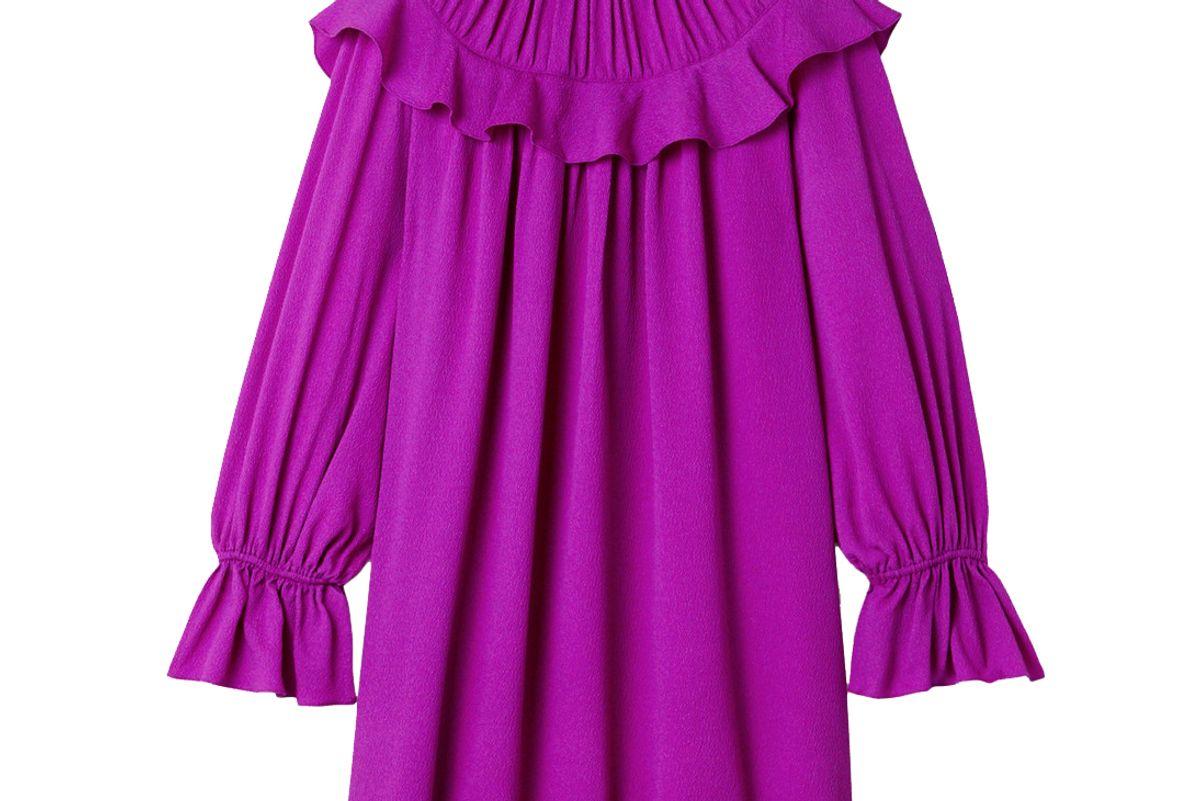 arias ruffled crinkled stretch silk crepe mini dress