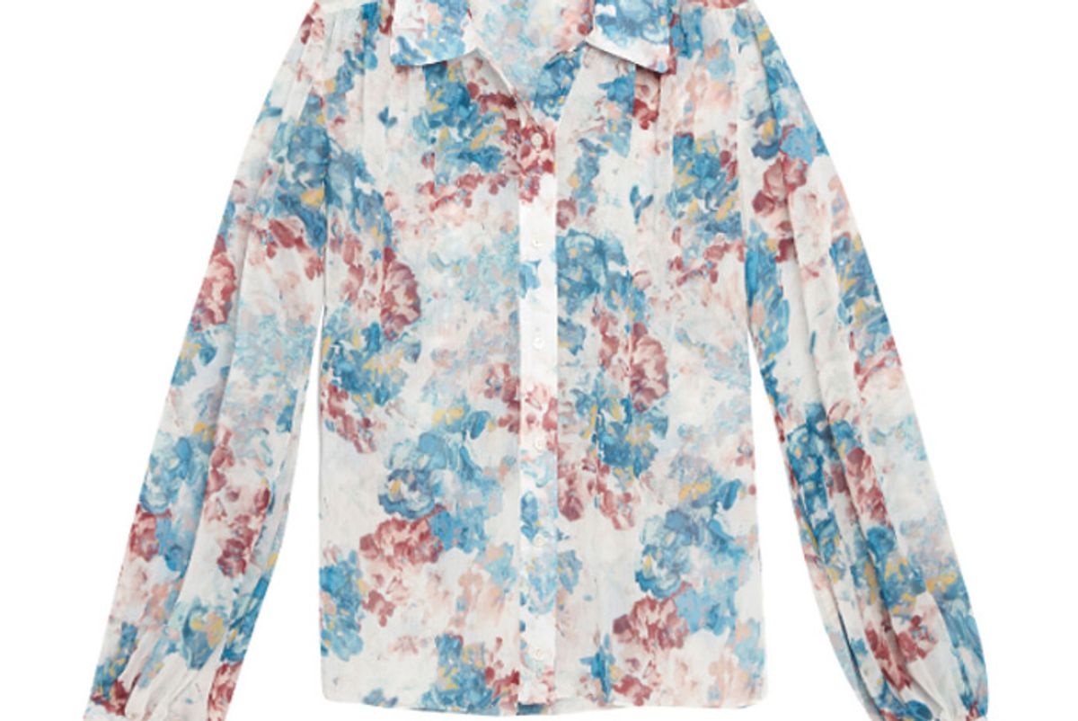 arias gathered shoulder blouse