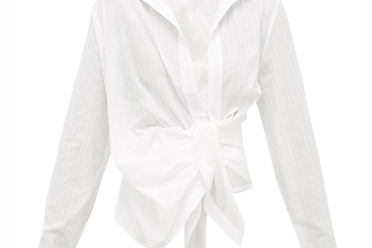 jacquemus bahia gathered cotton poplin shirt