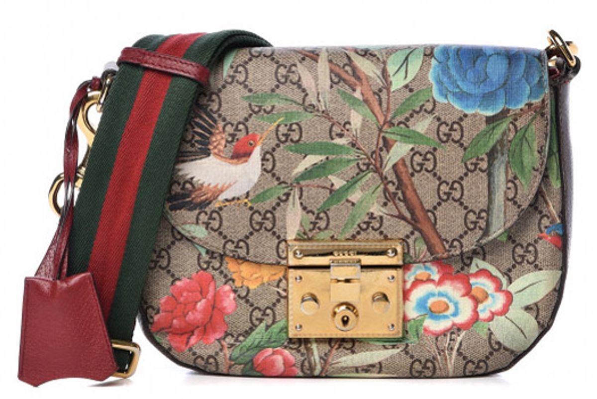 gucci gg supreme monogram medium tian print padlock shoulder bag