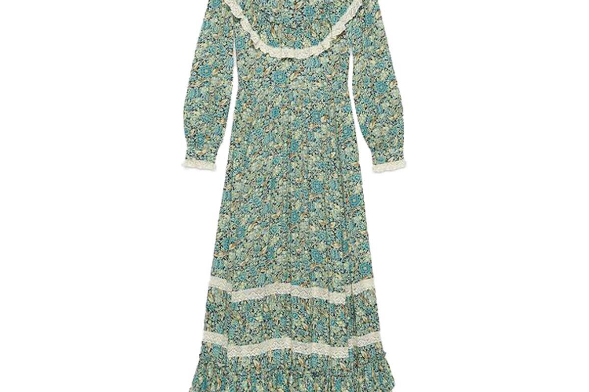 gucci liberty floral crepe maxi dress