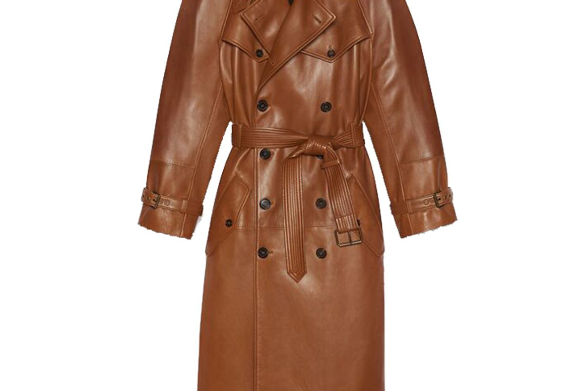 saint laurent long double breasted trench coat in plunged lambskin