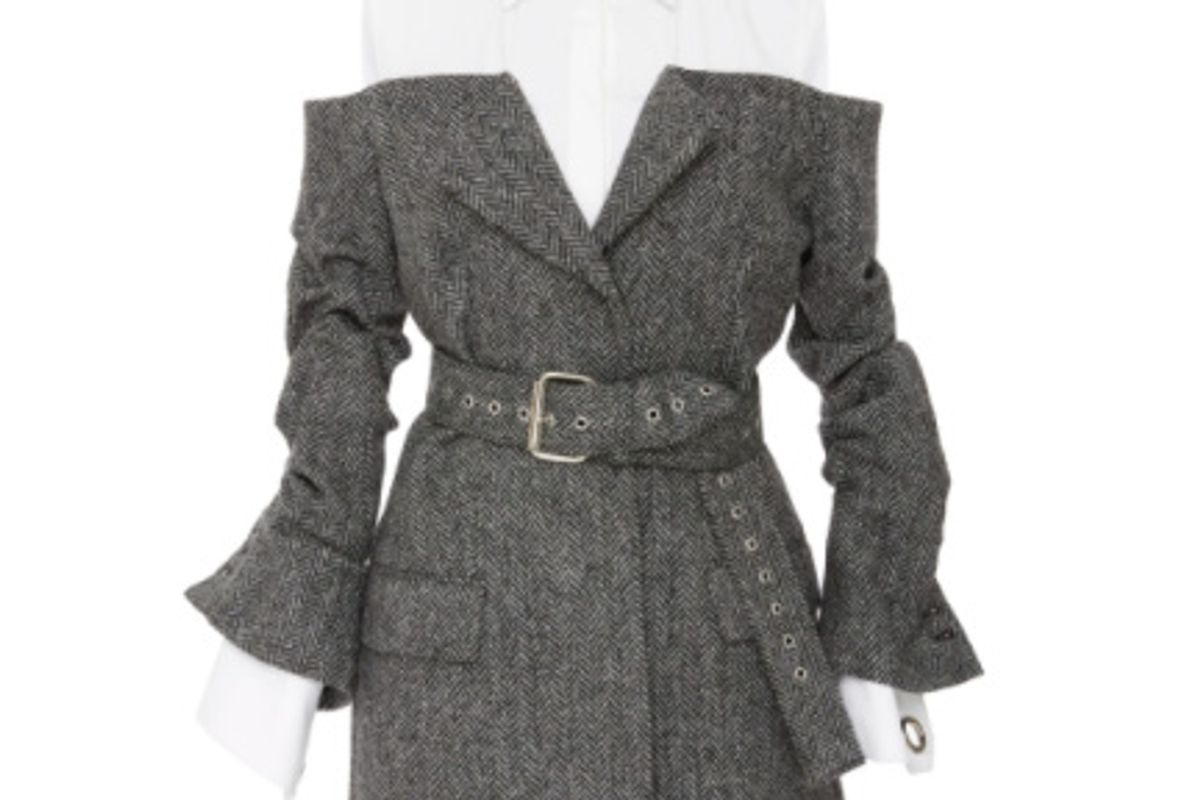 Belted Herringbone Jacket