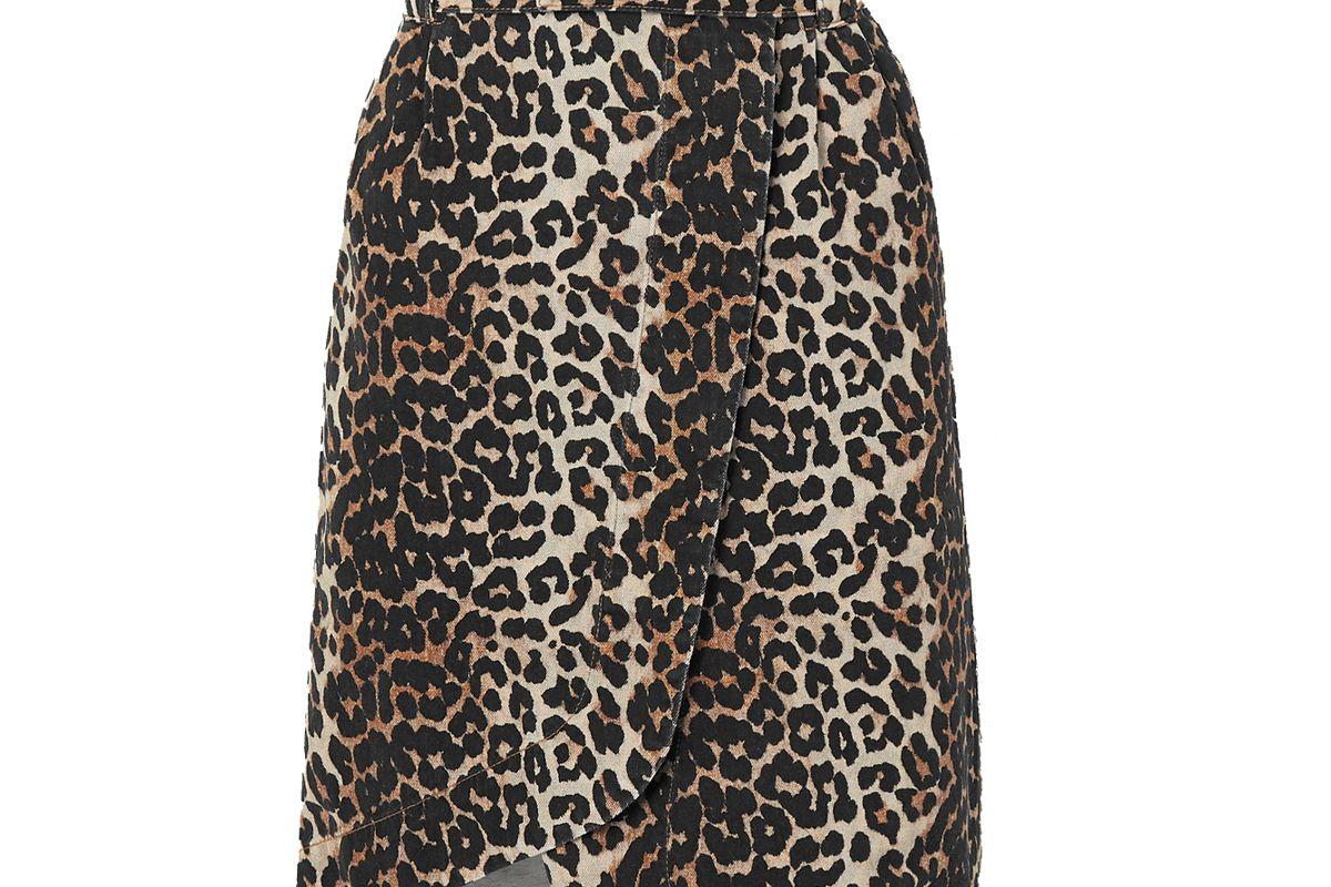 ganni leopard print denim wrap midi skirt