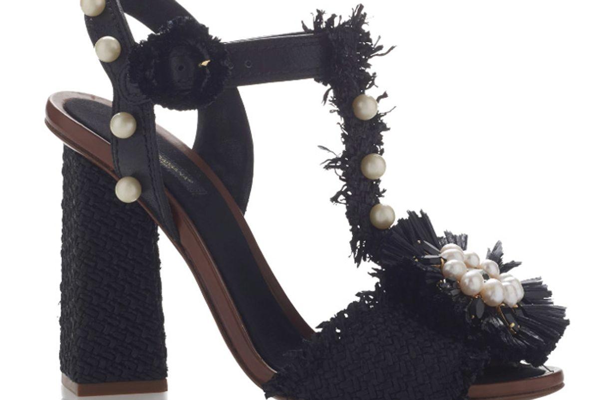 Embellished Raffia Sandals