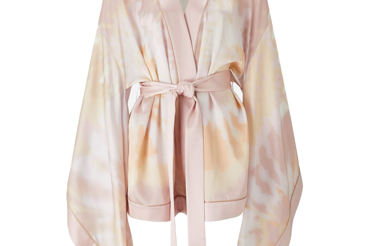 ralph and russo pink tie dye silk satin kimono top