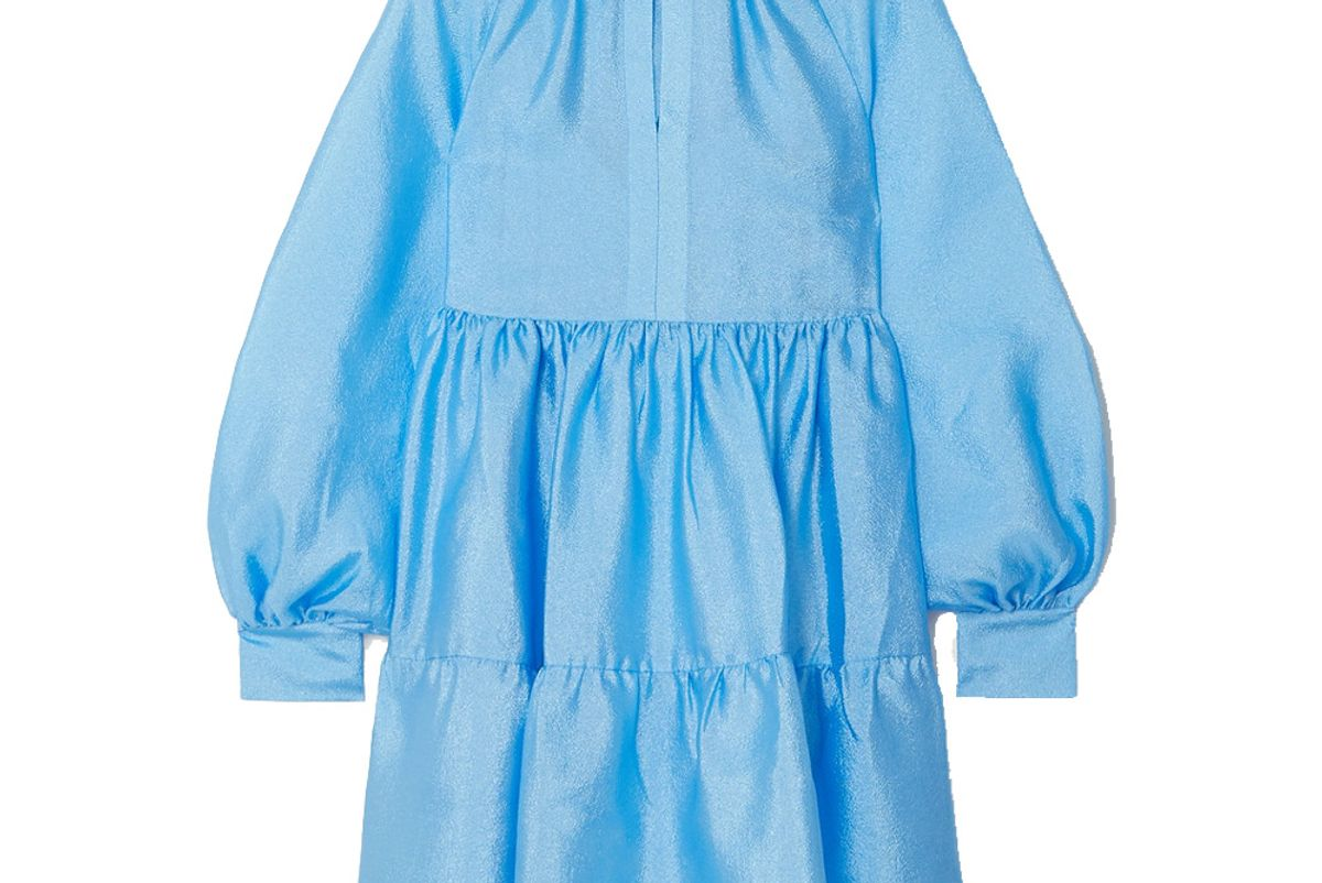 stine goya jasmine tiered crinkle taffeta mini dress