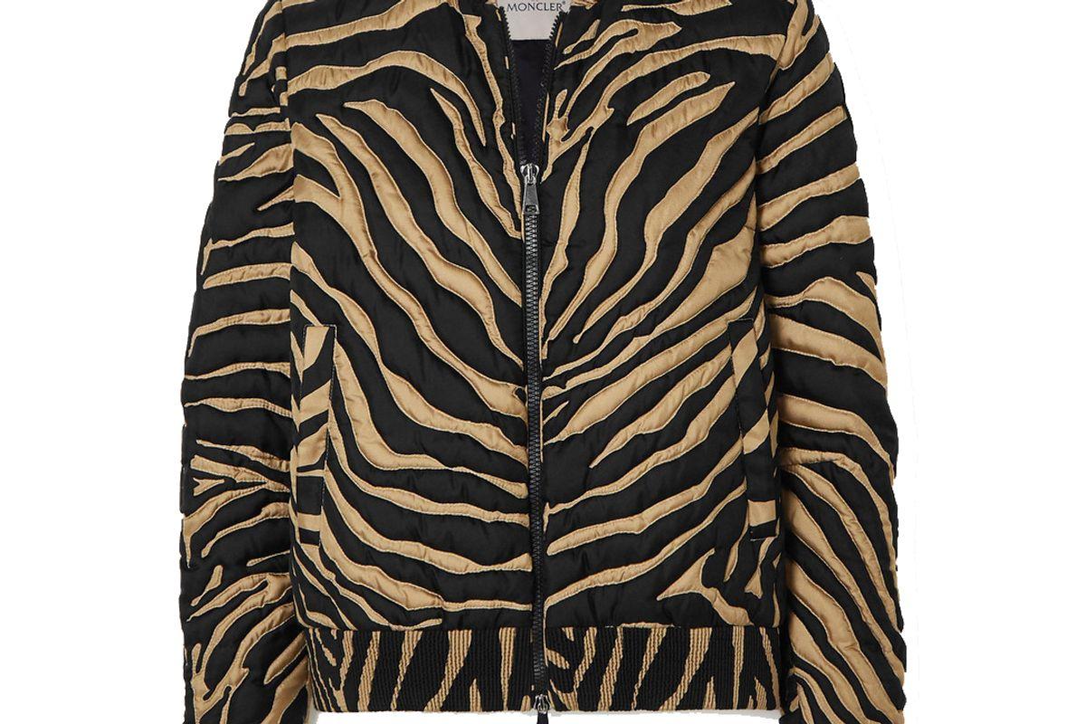 moncler quilted zebra print silk down bomber jacket