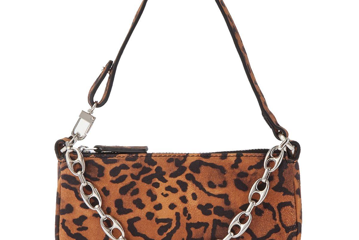 by far rachel mini chain embellished leopard print suede shoulder bag
