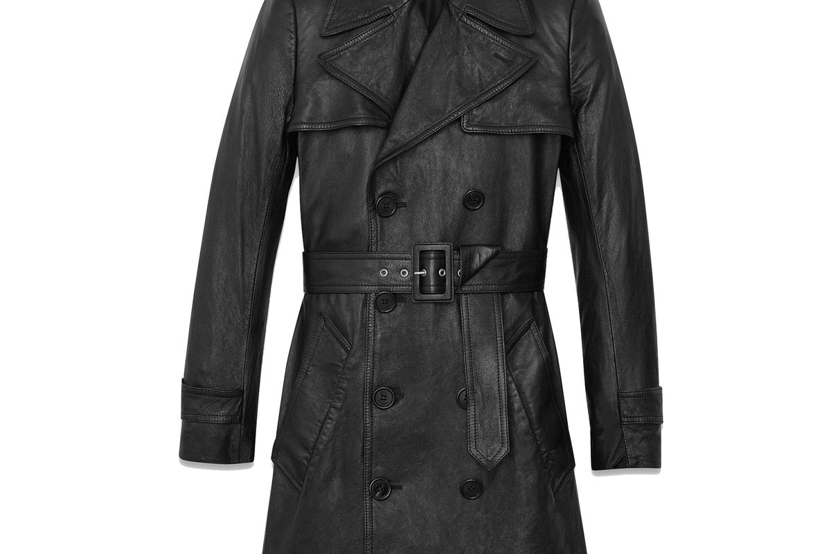 Babydoll Trench Coat in Black Leather