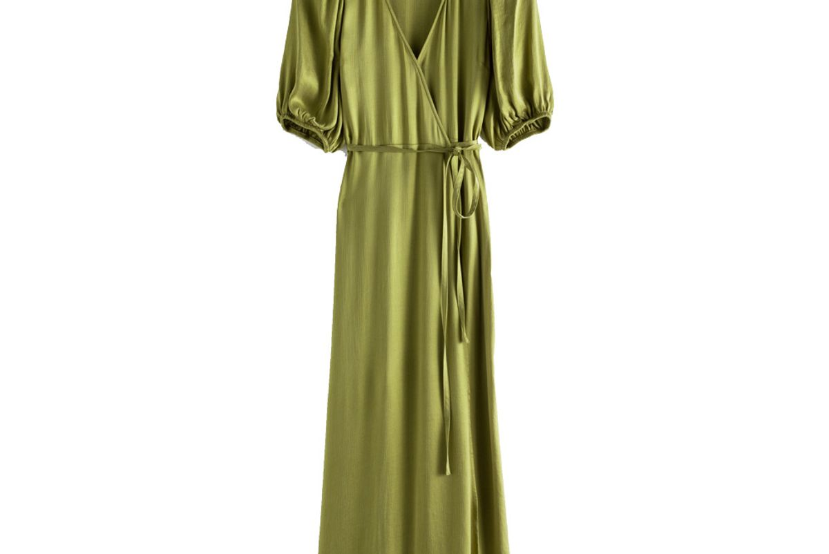 and other stories puff sleeve maxi wrap dress