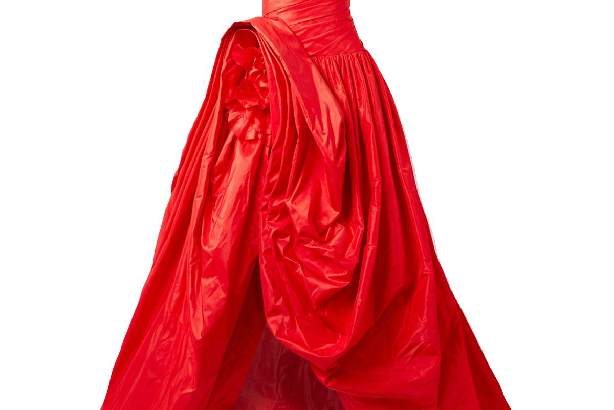 oscar de la renta asymmetric gathered silk taffeta gown