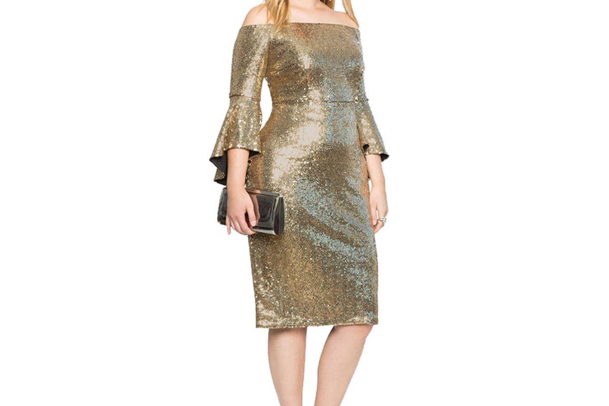 Sequin Off the Shoulder Flare Sleeve Dress