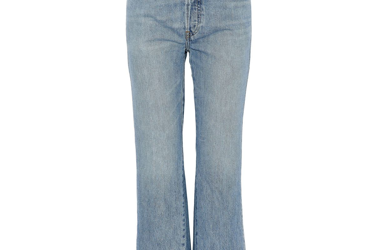 re/done frayed high rise flared jeans