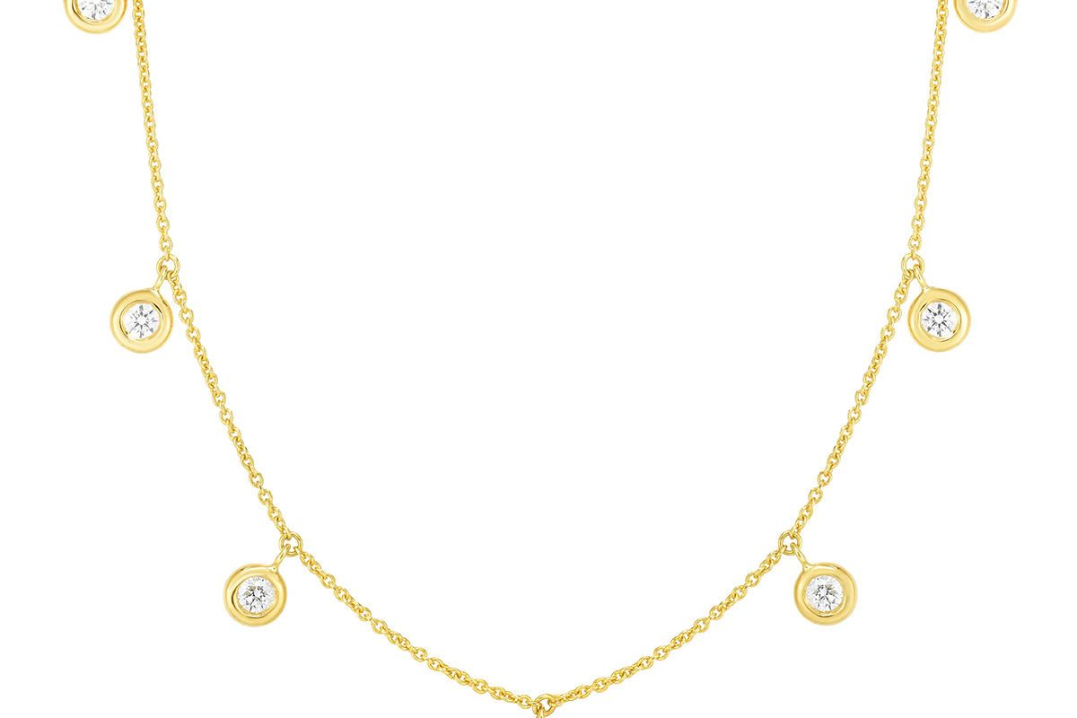 roberto coin 18k 7 station diamond dangle necklace